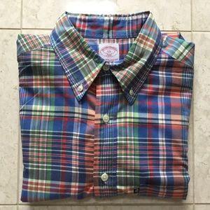 BROOKS BROTHERS royal blue plaid button up shirt L